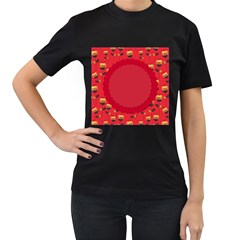Floral Roses Pattern Background Seamless Women s T-Shirt (Black) (Two Sided)