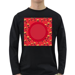 Floral Roses Pattern Background Seamless Long Sleeve Dark T-Shirts