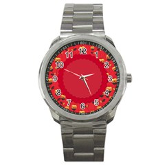 Floral Roses Pattern Background Seamless Sport Metal Watch