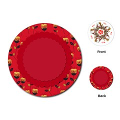Floral Roses Pattern Background Seamless Playing Cards (Round)