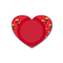 Floral Roses Pattern Background Seamless Rubber Coaster (heart)
