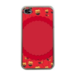 Floral Roses Pattern Background Seamless Apple Iphone 4 Case (clear)