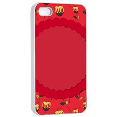 Floral Roses Pattern Background Seamless Apple Iphone 4/4s Seamless Case (white)