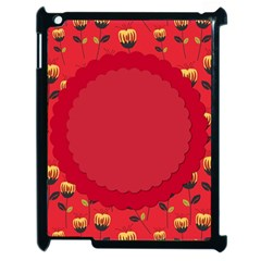 Floral Roses Pattern Background Seamless Apple iPad 2 Case (Black)
