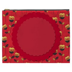 Floral Roses Pattern Background Seamless Cosmetic Bag (XXXL)