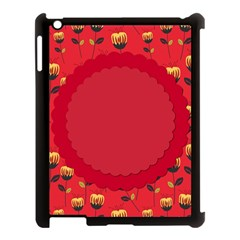 Floral Roses Pattern Background Seamless Apple Ipad 3/4 Case (black)