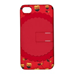 Floral Roses Pattern Background Seamless Apple Iphone 4/4s Hardshell Case With Stand