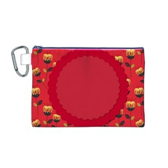 Floral Roses Pattern Background Seamless Canvas Cosmetic Bag (M)