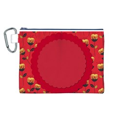 Floral Roses Pattern Background Seamless Canvas Cosmetic Bag (l)