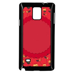 Floral Roses Pattern Background Seamless Samsung Galaxy Note 4 Case (Black)