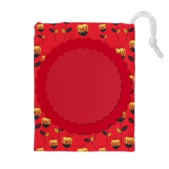 Floral Roses Pattern Background Seamless Drawstring Pouches (extra Large)