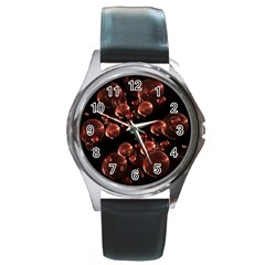Fractal Chocolate Balls On Black Background Round Metal Watch