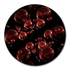 Fractal Chocolate Balls On Black Background Round Mousepads