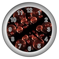 Fractal Chocolate Balls On Black Background Wall Clocks (Silver)