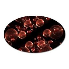Fractal Chocolate Balls On Black Background Oval Magnet