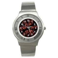 Fractal Chocolate Balls On Black Background Stainless Steel Watch