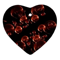 Fractal Chocolate Balls On Black Background Heart Ornament (two Sides)