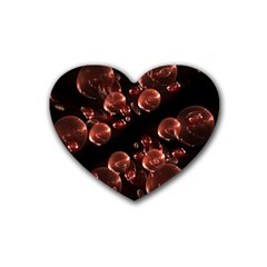 Fractal Chocolate Balls On Black Background Rubber Coaster (heart)