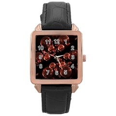 Fractal Chocolate Balls On Black Background Rose Gold Leather Watch