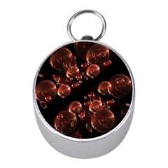 Fractal Chocolate Balls On Black Background Mini Silver Compasses