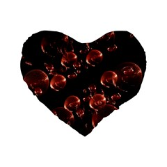 Fractal Chocolate Balls On Black Background Standard 16  Premium Flano Heart Shape Cushions