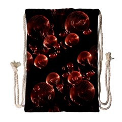 Fractal Chocolate Balls On Black Background Drawstring Bag (large)