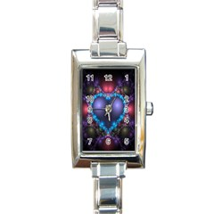 Blue Heart Fractal Image With Help From A Script Rectangle Italian Charm Watch