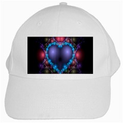 Blue Heart Fractal Image With Help From A Script White Cap
