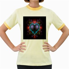 Blue Heart Fractal Image With Help From A Script Women s Fitted Ringer T-Shirts