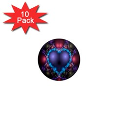 Blue Heart Fractal Image With Help From A Script 1  Mini Magnet (10 Pack)