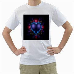 Blue Heart Fractal Image With Help From A Script Men s T-Shirt (White) (Two Sided)