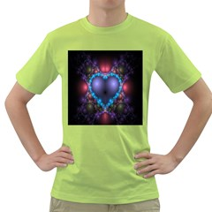 Blue Heart Fractal Image With Help From A Script Green T Shirt