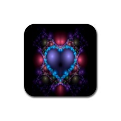 Blue Heart Fractal Image With Help From A Script Rubber Square Coaster (4 pack)