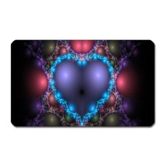 Blue Heart Fractal Image With Help From A Script Magnet (Rectangular)