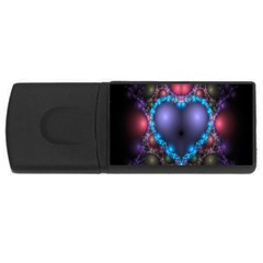 Blue Heart Fractal Image With Help From A Script USB Flash Drive Rectangular (2 GB)