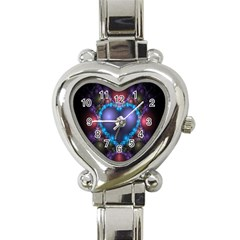 Blue Heart Fractal Image With Help From A Script Heart Italian Charm Watch