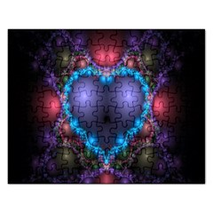 Blue Heart Fractal Image With Help From A Script Rectangular Jigsaw Puzzl