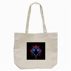 Blue Heart Fractal Image With Help From A Script Tote Bag (cream)
