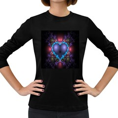 Blue Heart Fractal Image With Help From A Script Women s Long Sleeve Dark T Shirts