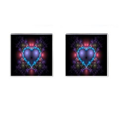 Blue Heart Fractal Image With Help From A Script Cufflinks (square)
