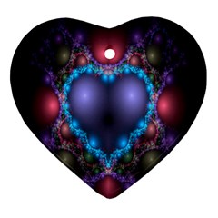 Blue Heart Fractal Image With Help From A Script Heart Ornament (Two Sides)