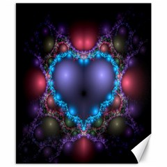 Blue Heart Fractal Image With Help From A Script Canvas 8  X 10