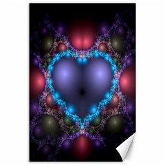 Blue Heart Fractal Image With Help From A Script Canvas 24  X 36
