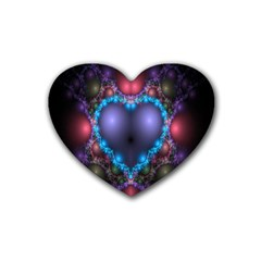 Blue Heart Fractal Image With Help From A Script Heart Coaster (4 Pack)