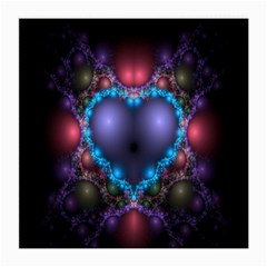 Blue Heart Fractal Image With Help From A Script Medium Glasses Cloth (2 Side)