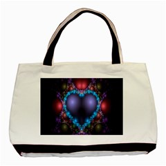 Blue Heart Fractal Image With Help From A Script Basic Tote Bag (two Sides)