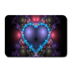 Blue Heart Fractal Image With Help From A Script Plate Mats