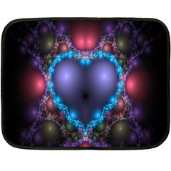 Blue Heart Fractal Image With Help From A Script Double Sided Fleece Blanket (mini)
