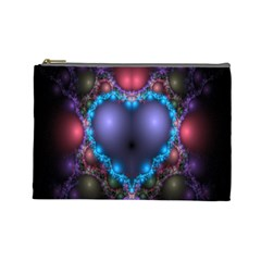 Blue Heart Fractal Image With Help From A Script Cosmetic Bag (large)
