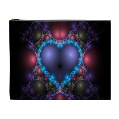 Blue Heart Fractal Image With Help From A Script Cosmetic Bag (xl)